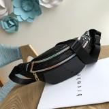 Women Punk Laser Glossy PU Double Zipper Chest Bag Casual Waist Bag (Black)