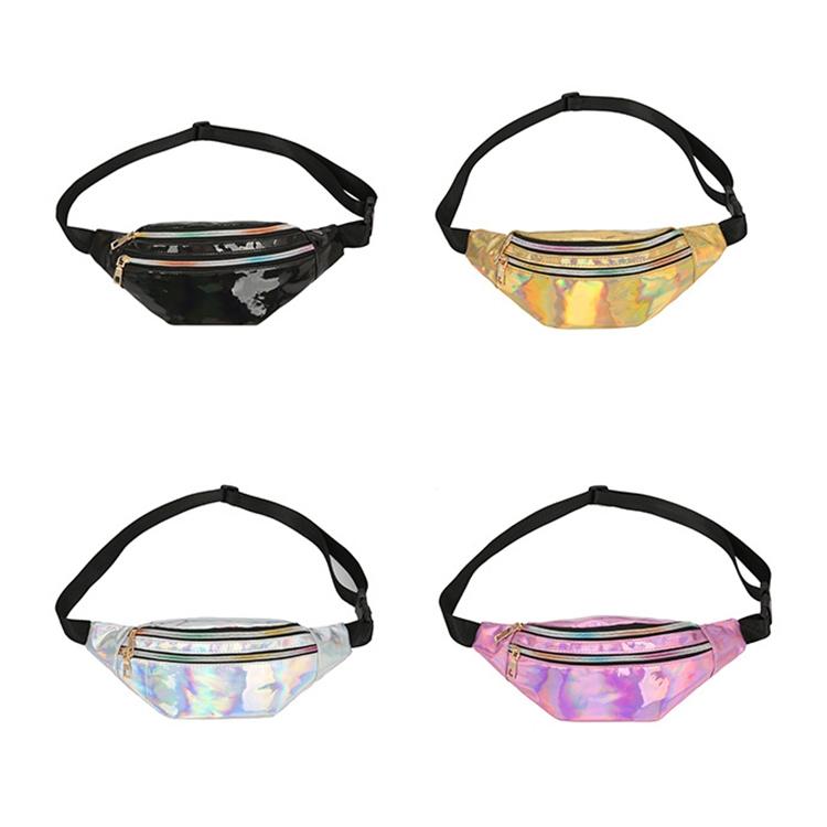 Women Punk Laser Glossy PU Double Zipper Chest Bag Casual Waist Bag (Yellow)