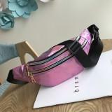 Women Punk Laser Glossy PU Double Zipper Chest Bag Casual Waist Bag (Pink)