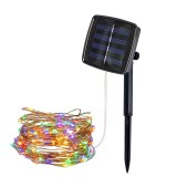22m 200 LEDs Solar Powered Home Garden Copper Wire String Fairy Light Outdoor Christmas Party Decor Strip Lamp with 8 Modes (RGB)