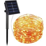 22m 200 LEDs Solar Powered Home Garden Copper Wire String Fairy Light Outdoor Christmas Party Decor Strip Lamp with 8 Modes (Warm White)