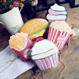 Creative Style Woman Hamburger Ice Cream Cupcake PU Chains bags Cute Cartoon Hamburger Popcorn Fries 3D Messenger Bags (Popcorn)