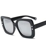 2 PCS Oversized Sunglasses Women Luxury Transparent Gradient Sun Glasses Big Frame Vintage Eyewear UV400 Glasses (Silver)