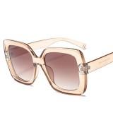 2 PCS Oversized Sunglasses Women Luxury Transparent Gradient Sun Glasses Big Frame Vintage Eyewear UV400 Glasses (Brown)