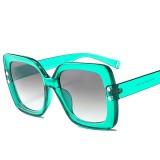 2 PCS Oversized Sunglasses Women Luxury Transparent Gradient Sun Glasses Big Frame Vintage Eyewear UV400 Glasses (Green)