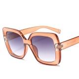 2 PCS Oversized Sunglasses Women Luxury Transparent Gradient Sun Glasses Big Frame Vintage Eyewear UV400 Glasses (Orange)