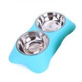 40286 Stainless Steel Non-slip Dual-use Pet Dog Bowl Cat Food Bowl Double Bowl, Size: L (Blue)