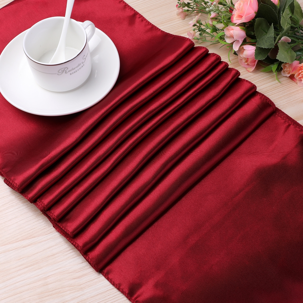 10 PCS Satin Tablecloth Table Decoration for Home Party Wedding Christmas Decoration (Pink)