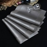10 PCS Placemat Fashion PVC Dining Table Mat Fisc Pads Bowl Pad Coasters Waterproof Table Cloth Pad Slip-resistant Pad (Silver Grey)