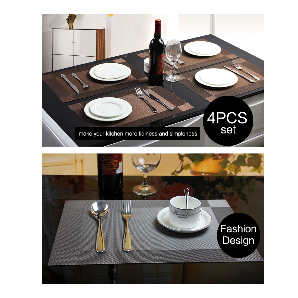 10 PCS Placemat Fashion PVC Dining Table Mat Fisc Pads Bowl Pad Coasters Waterproof Table Cloth Pad Slip-resistant Pad (Golden)