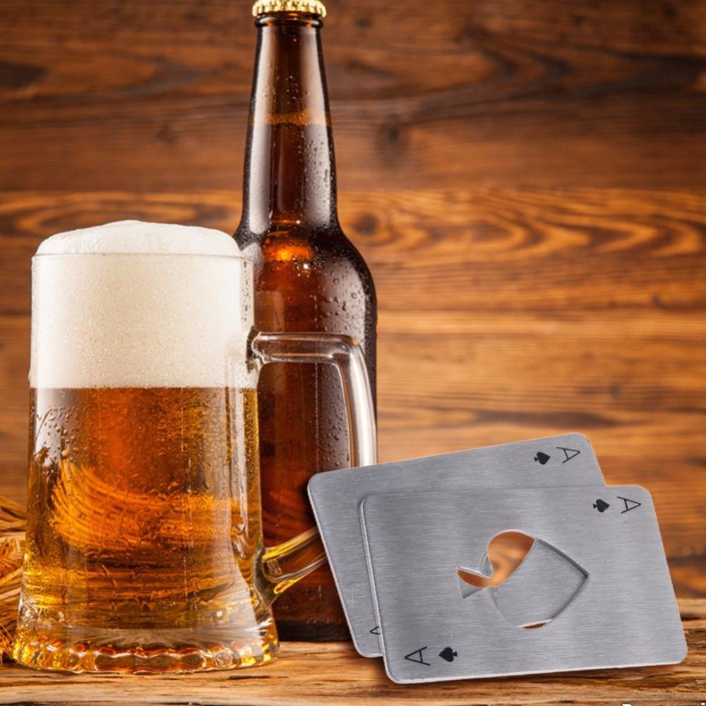 2 PCS Stainless Steel Bottle Beer Opener Poker Playing Card Spades Soda Bottle Cap Opener (White)