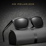 2 PCS Men Polarized Sunglasses Night Vision Anti-glare Driving Sun Glasses Goggles (Bright Black Frame Gray Lens)