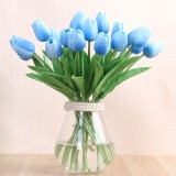 Simulation PU Mini Tulip Artificial Flowers Silk Flowers Wedding Home Fake Flowers (Blue)