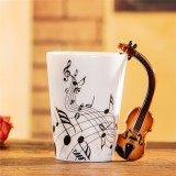 Guitar Ceramic Cup Personality Music Note Milk Juice Lemon Mug Coffee Tea Cup Home Office Drinkware Unique Gift (Violin freedom)