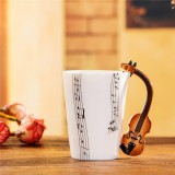Guitar Ceramic Cup Personality Music Note Milk Juice Lemon Mug Coffee Tea Cup Home Office Drinkware Unique Gift (Violin Five Line)