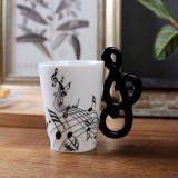 Guitar Ceramic Cup Personality Music Note Milk Juice Lemon Mug Coffee Tea Cup Home Office Drinkware Unique Gift (Note Free)
