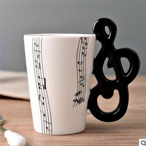 Guitar Ceramic Cup Personality Music Note Milk Juice Lemon Mug Coffee Tea Cup Home Office Drinkware Unique Gift (Note Five Line)