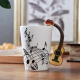 Guitar Ceramic Cup Personality Music Note Milk Juice Lemon Mug Coffee Tea Cup Home Office Drinkware Unique Gift (Wooden Guitar Free)