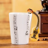 Guitar Ceramic Cup Personality Music Note Milk Juice Lemon Mug Coffee Tea Cup Home Office Drinkware Unique Gift (Wooden Guitar Five Line)