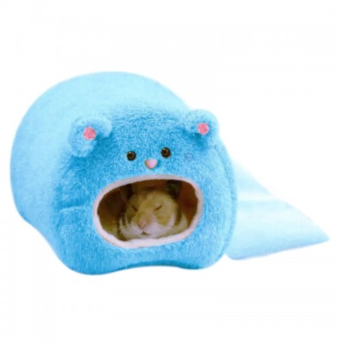 Cute Small Animal Cages Pet Rabbit Hamster House Bed Rat Qquirrel Guinea Winter Warm Hanging Cage Hamster Nest (Blue)