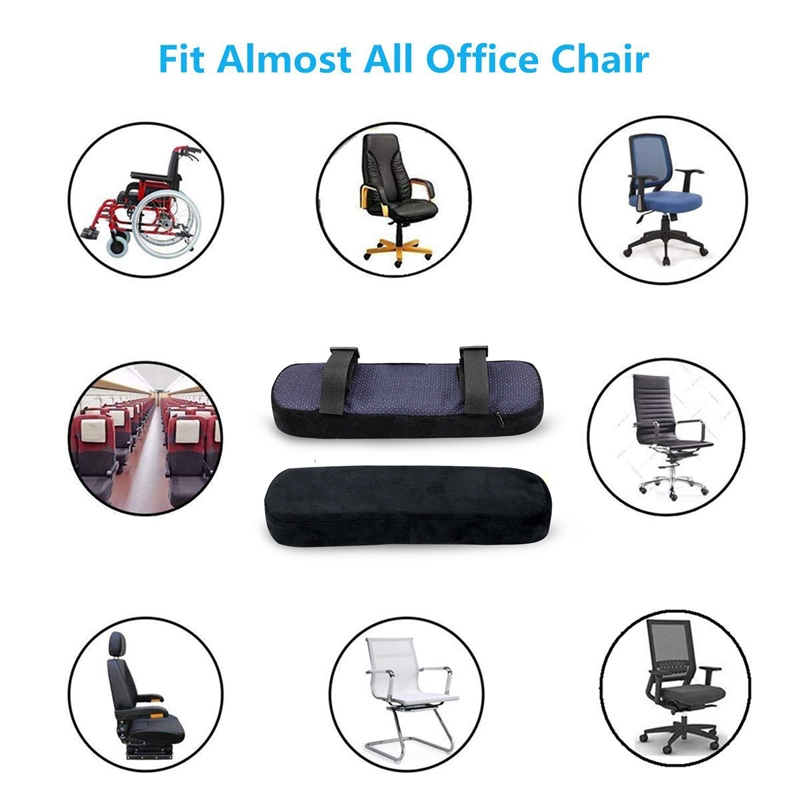 2 PCS Chair Armrest Pads for Office Chair Soft Elbow Pillows Pads Protector Long Arm Sleeve Elbow Brace Patches Rest Cushion (black)