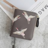 Leather Small Wallet Mini Women Wallets Purses Short Coin Zipper Purse Card Holder (Gray)