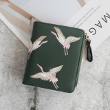 Leather Small Wallet Mini Women Wallets Purses Short Coin Zipper Purse Card Holder (Dark Green)