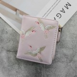 Leather Small Wallet Mini Women Wallets Purses Short Coin Zipper Purse Card Holder (Pink)