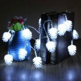 20 LEDs Solar Powered Pine Cone Outdoor Energy Saving Holiday Wedding Decoration String Light Garden Landscape Lamp (White Light)