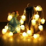 20 LEDs Solar Powered Pine Cone Outdoor Energy Saving Holiday Wedding Decoration String Light Garden Landscape Lamp (Warm White)