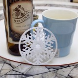 10 PCS Merry Christmas Decorations Snowflakes Cup Pad Non-woven Fabric Dinner Party Dish Tray Coffee Pads (White)
