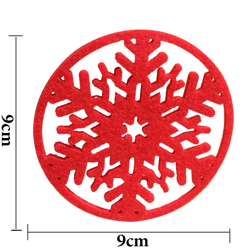 10 PCS Merry Christmas Decorations Snowflakes Cup Pad Non-woven Fabric Dinner Party Dish Tray Coffee Pads (Red)