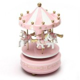 Wooden Music Box Toy Home Decor Carousel Horse Music Box (Pink)