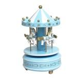 Wooden Music Box Toy Home Decor Carousel Horse Music Box (Blue)
