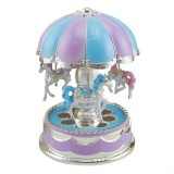 Merry-Go-Round Carousel Music Box Toy Swivel Glowing Carousel Horse Electronic Music Box (Blue)