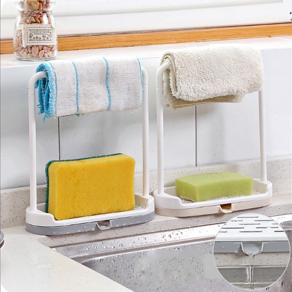 Hanging Bathroom Kitchen Towel Rack Hanging Holder Storage Rack Towel Drain Shelf (Gray)