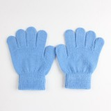 Winter Warm Gloves Children Knitted Stretch Mittens Full Finger Glove One Size (Sky Blue)