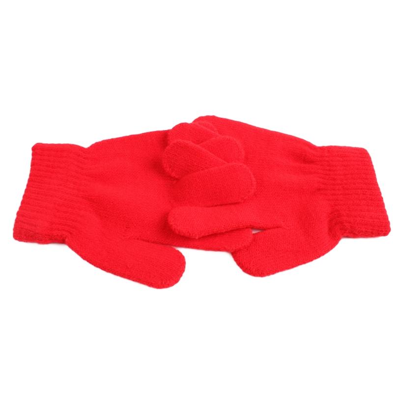 Winter Warm Gloves Children Knitted Stretch Mittens Full Finger Glove One Size (Sky Blue)