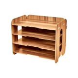 Creative Home Office Desktop 4 Layers File Organizer Wood Document Letter Holder Tray Multi-storey Shelf (Cherrywood)