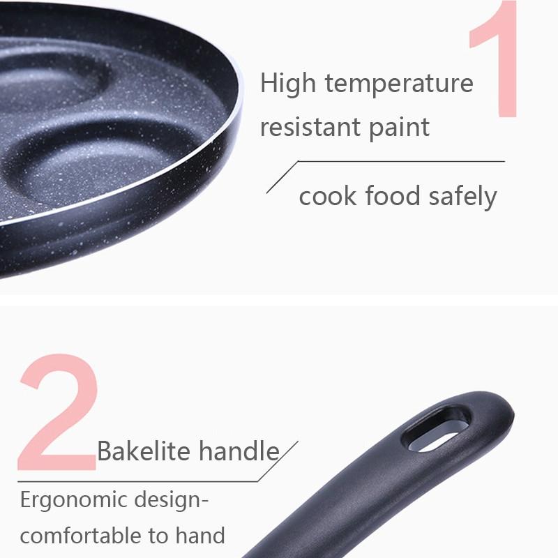 Multifunction Nonstick Frying Pan Aluminium Alloy 4 Units Cookware Fry Egg Pan Pancake Steak Pan for Gas Cooker (11 Inch Round + Heart)