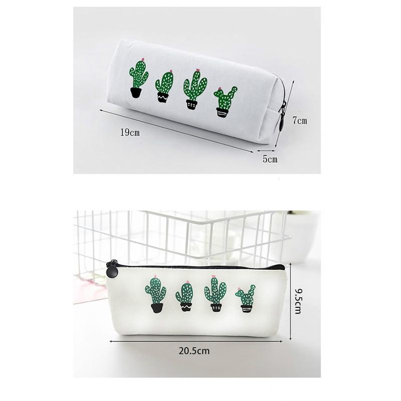 Print Cactus Octagonal Version Small Fresh Canvas Cosmetic Storage Bag Pencil Case (4 Cactus)