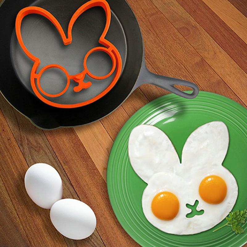 2 PCS Silicone Bunny Cartoon Fry Egg Frame Egg Mold Pancake Egg Rings Shaper Egg Omelette Mould Kitchen Tool