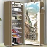 3D Cartoon Pattern Shoe Cabinet Non-woven Cloth Shoe Shelf Space Saver Shoe Rack Organizer, Size: 60X30X160cm (London Town)