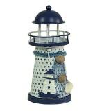 2 PCS Mediterranean Style Round Hole tin Lighthouse Candlestick Home Desktop Decoration Wrought Iron Candlestick (Tower)