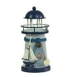2 PCS Mediterranean Style Round Hole tin Lighthouse Candlestick Home Desktop Decoration Wrought Iron Candlestick (Sailboat)