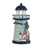 2 PCS Mediterranean Style Round Hole tin Lighthouse Candlestick Home Desktop Decoration Wrought Iron Candlestick (Anchor)