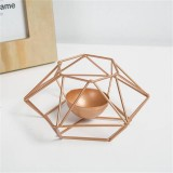 Creative Modern Minimalist Geometric Wrought Iron Gold Candle Holder Ornaments Home Decorations Romantic Candlelight Ornaments, Size: S
