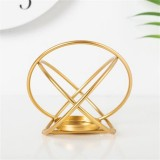 Creative Modern Minimalist Geometric Wrought Iron Gold Candle Holder Ornaments Home Decorations Romantic Candlelight Ornaments, Size: Round