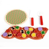 Wooden Pizza Toys Food Cooking Simulation Tableware Children Kitchen Pretend Play Toy