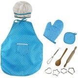 3 PCS Chef Kitchen Baking Tools Apron Girl Toy Set Kindergarten Stage Photography Play Costume Props (Blue chef apron)